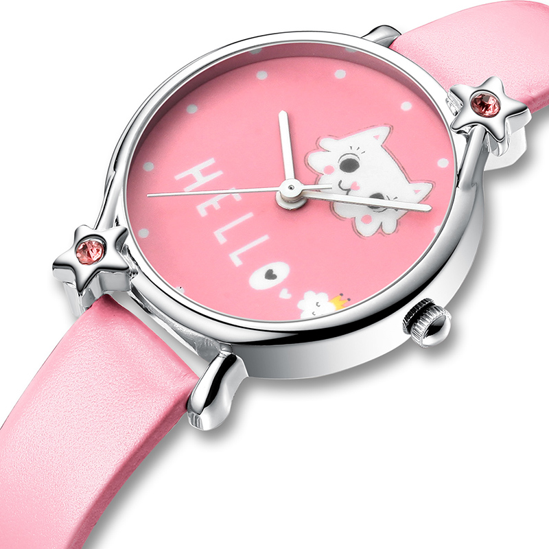 KDM Cute Cartoon Cat Child Watches Kids Girl Watch Bling Diamond Waterproof Leather Lovely Kids Children Watches Students Clock