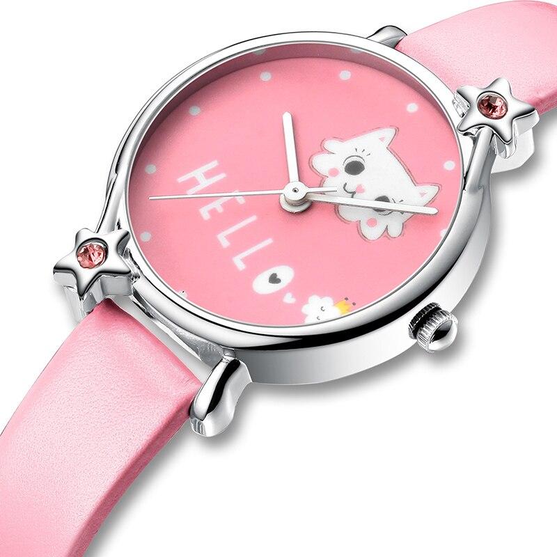 KDM Cute Cartoon Cat Child Watches Kids Girl Watch Bling Diamond Waterproof Leather Lovely Kids Children Watches Students Clock