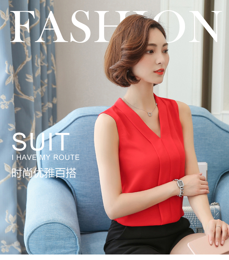 New J41938 Summer One Size Chiffon Shirt V Neck Solid Color Sleevess Office Lady Work Casual Shirts(China)