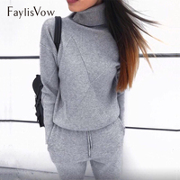 Turtleneck Knitted Tracksuit Autumn Winter Warm Two Piece Set Women's Tracksuit Casual Female Sweater Trousers Suits Clothing
