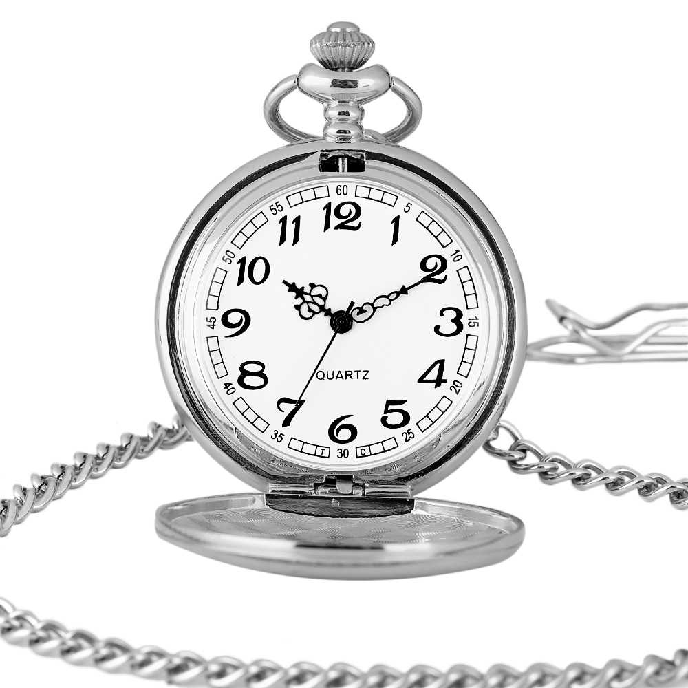 2018 New Arrival Silver Smooth Quartz Pocket Watch Retro for Men Women With Short Chain Round Dial Gift for Pocket Watch