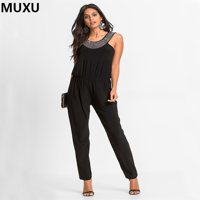 2c6ecf06ad2 MUXU sequin Summer Rompers Womens Jumpsuit Sexy Ladies Casual Elegant  Sleeveless Long Overalls Black Jumpsuit combishort