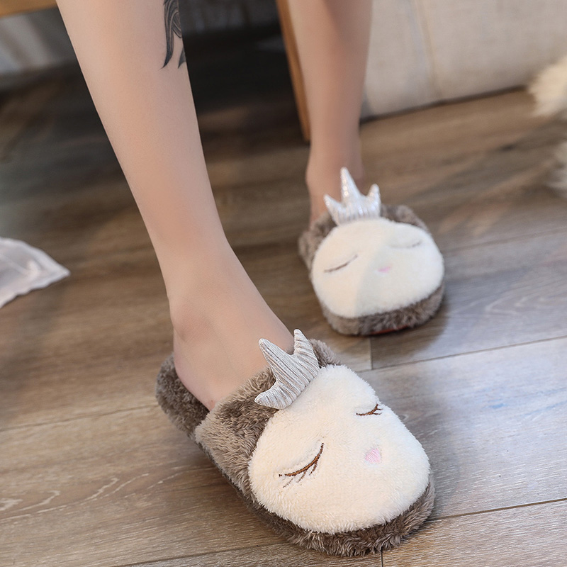 5899b31cb Lovely Women Home Slippers Warm Winter Cute Indoor House Shoes Woman Pink  Soft Bottom Bedroom Ladies Flats Slip On Flip Flops-in Slippers from Shoes  on ...