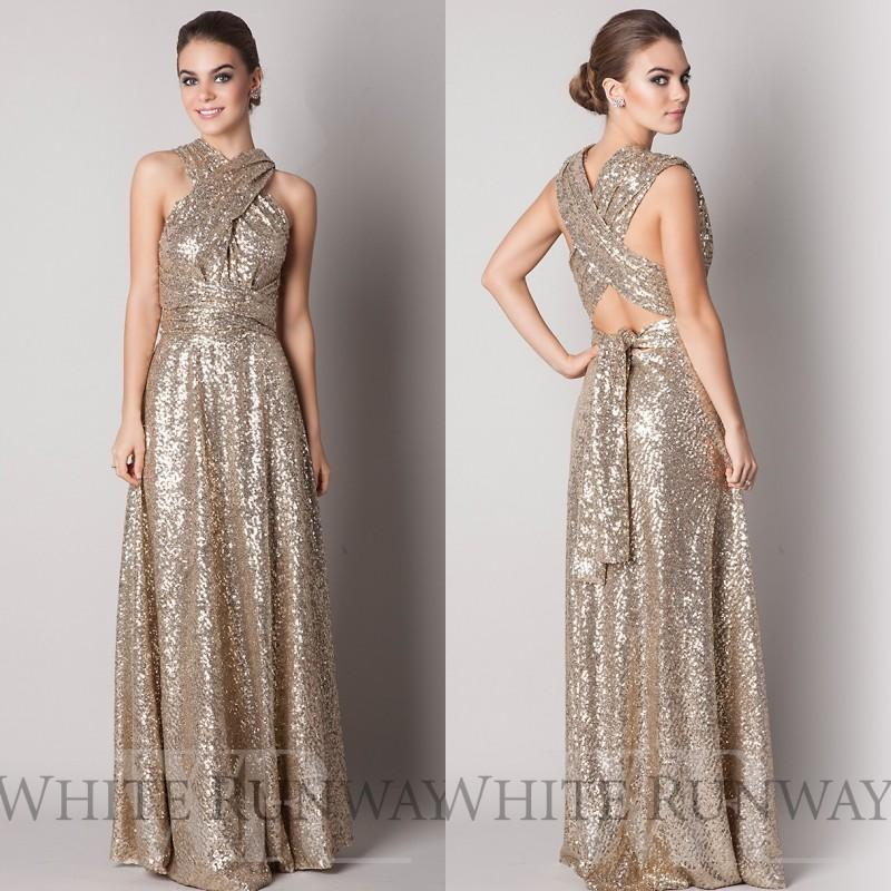 00be50b50542 Gold Long Bridesmaid Dresses 2016 Sequin Cheap Bridesmaid Dress Floor  Length Cross Straps Prom Gown Wedding Party Dress C53-in Bridesmaid Dresses  from ...
