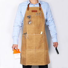 Фотография WEEYI Retro Brown Heavy Waxed Canvas Apron for Barber with Pockets and Leather Straps Water resistant Men&Women Professional