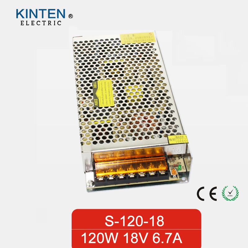 120W 18V 6.7A Single Output Switching power supply for LED Strip light AC TO DC single output uninterruptible adjustable 24v 150w switching power supply unit 110v 240vac to dc smps for led strip light cnc