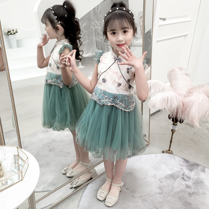 Summer Dresses For Girls 2019 Brand Girls Clothing White Shawl Princess Party Dress Chinese Vintage Embroidered Dress For 3 14Y in Dresses from Mother Kids