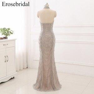 Image 2 - 2019 Mermaid suknie wieczorowe długie Erosebridal Sliver frezowanie Off The Shoulder Prom sukienki na przyjęcie bez pleców Robe De Soire ZCC03
