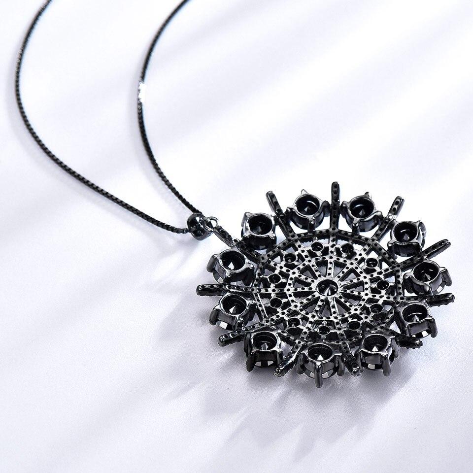 UMCHO Hyperbole Pierres Précieuses Noir Spinelle Collier Pendentifs Solide 925 En Argent Sterling bijoux pour femme Pour Les Femmes Cadeau bijoux fins - 3