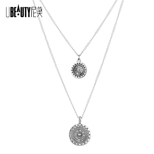 Ubeauty vintage multiple combinations women necklaces pendants ubeauty vintage multiple combinations women necklaces pendants silver necklace charm circular necklace for women jewelry aloadofball Images