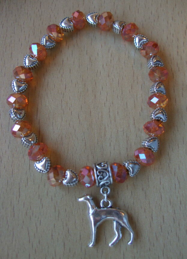 Hot Fashion Jewelry 10pcs Greyhound Dog Pendants Charm Pink Beaded Protection Spiritual Stretchy Bracelets&Bangle Shipping A356