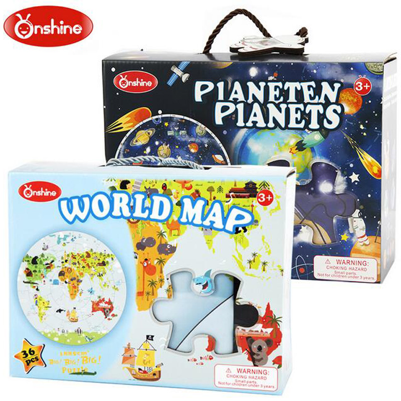 Onshine Education Learning Toys Wood Puzzle Jigsaw World Map Wood Planet Jigsaws Baby Toy For Children Kid Birthday Gifts