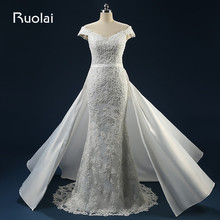 Ruolai Sexy Mermaid Wedding Dresses with Detachable Train