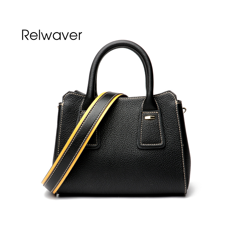 Relwaver genuine leather crossbody bags for women head layer cowhide women leather handbags black flap brief small shoulder bag цена