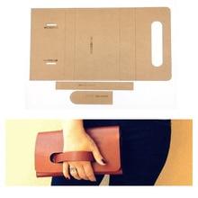 1 Набор, сделай сам, кожаная ручная работа, Женская сумочка, кошелек, кошелек, Прошитый узор, твердый крафт-бумажный трафарет, шаблон 220x120x25 мм