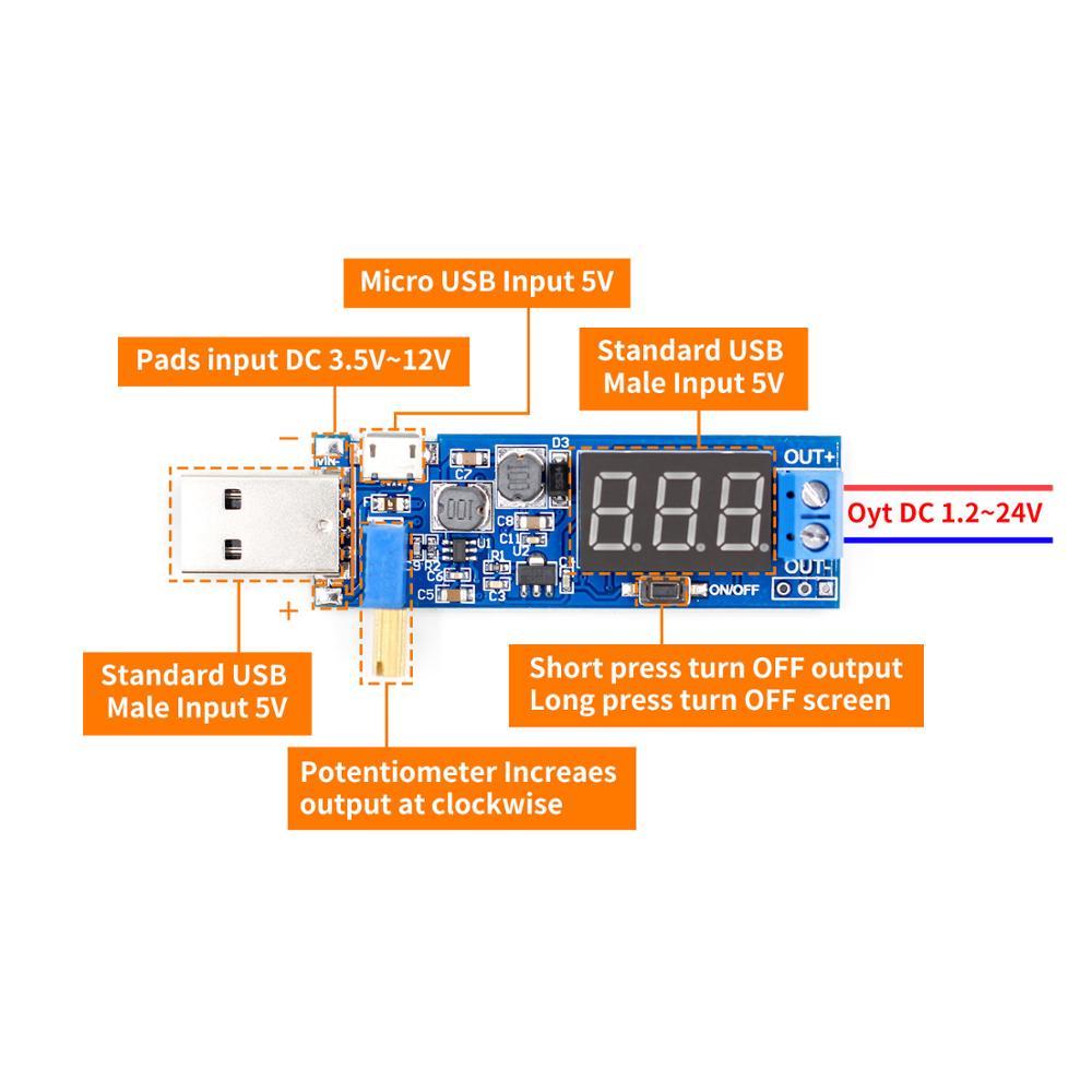 DC-DC 5V To 3.5V / 12V USB Step UP / Down Power Supply Module Adjustable Boost Buck Converter Out DC 1.2V-24V