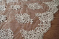 1 yard Ivory white lace fabric alencon cord lace fabric for bridal dress, wedding gown Lace accessories fabric