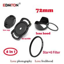 72mm star -6 Level 6PT filter +lens cap+ lens hood + Lens Cap holder  Keeper  4in1 kits for Canon Nikon Sony DSLR Digicam Lens