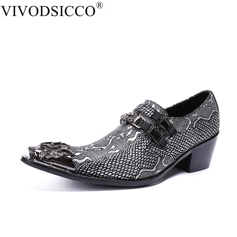 VIVODSICCO Fashion Business Men Dress Shoes Genuine Leather Pointed Toe Wedding Formal Shoes Metal Toes Office High Heels Shoes new 2018 fashion men dress shoes genuine leather pointed toe male wedding shoes autumn men office formal shoes yj a0029