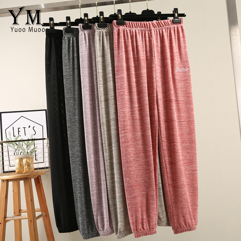 YuooMuoo Cotton Linen Women Causal Loose Trousers Solid Color Female Elastic Waist Chic Pockets Women's Summer Harem Pants