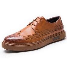 Zapatos de vestir de cuero para hombre, zapatos formales de fiesta de boda, Retro, estilo oxford, 2020