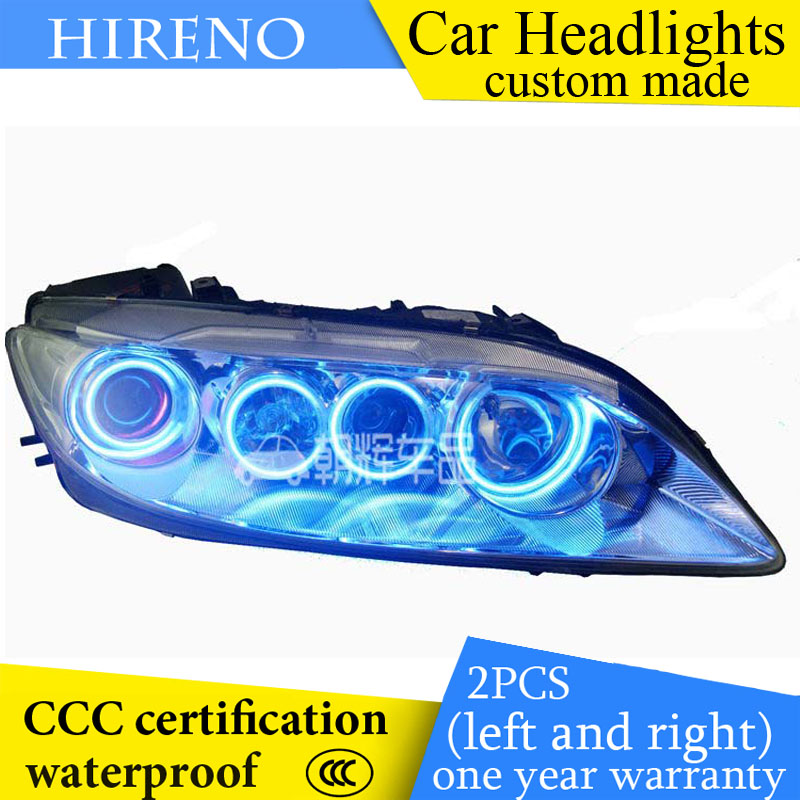 Hireno custom Modified Headlamp for Mazda 6 Mazda6 2003-12 Headlight Assembly Car styling Angel Lens Beam HID Xenon 2 pcs hireno headlamp for cadillac xt5 2016 2018 headlight headlight assembly led drl angel lens double beam hid xenon 2pcs