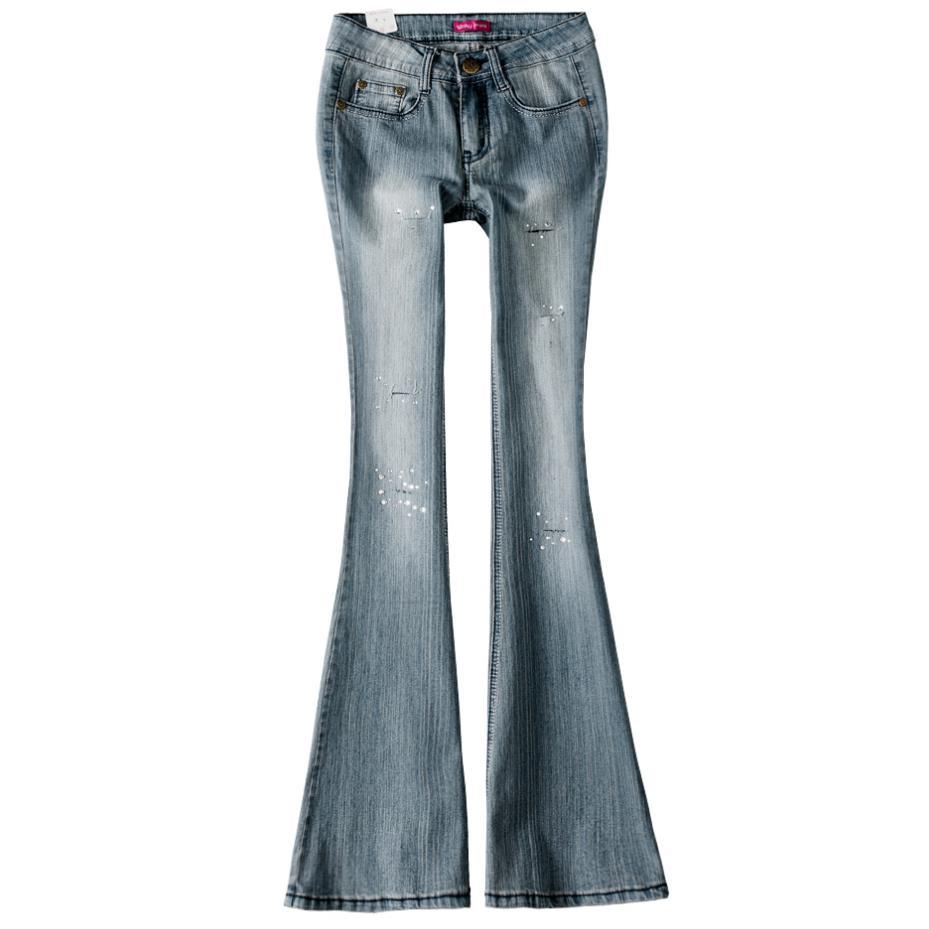Ancha Más Diamante Retro 2018 Otoño Flare Mediados Jeans Cintura Skinny Tamaño Vintage Mujeres De Moda Pierna SxSRqHwZr4