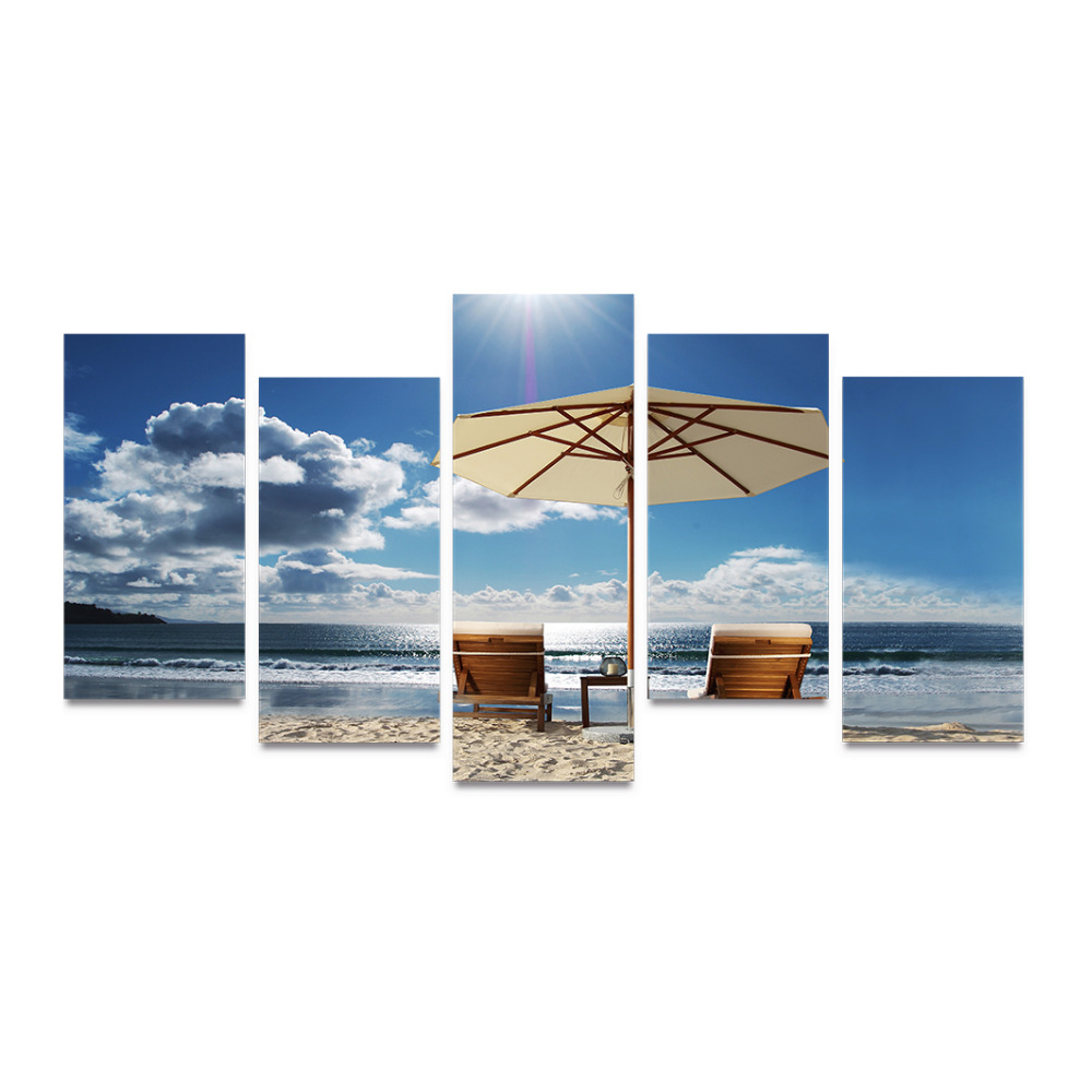Beach chair with umbrella painting - 5 Panels Canvas Print Chairs And Umbrella On Beach Painting On Canvas Wall Art Picture Home