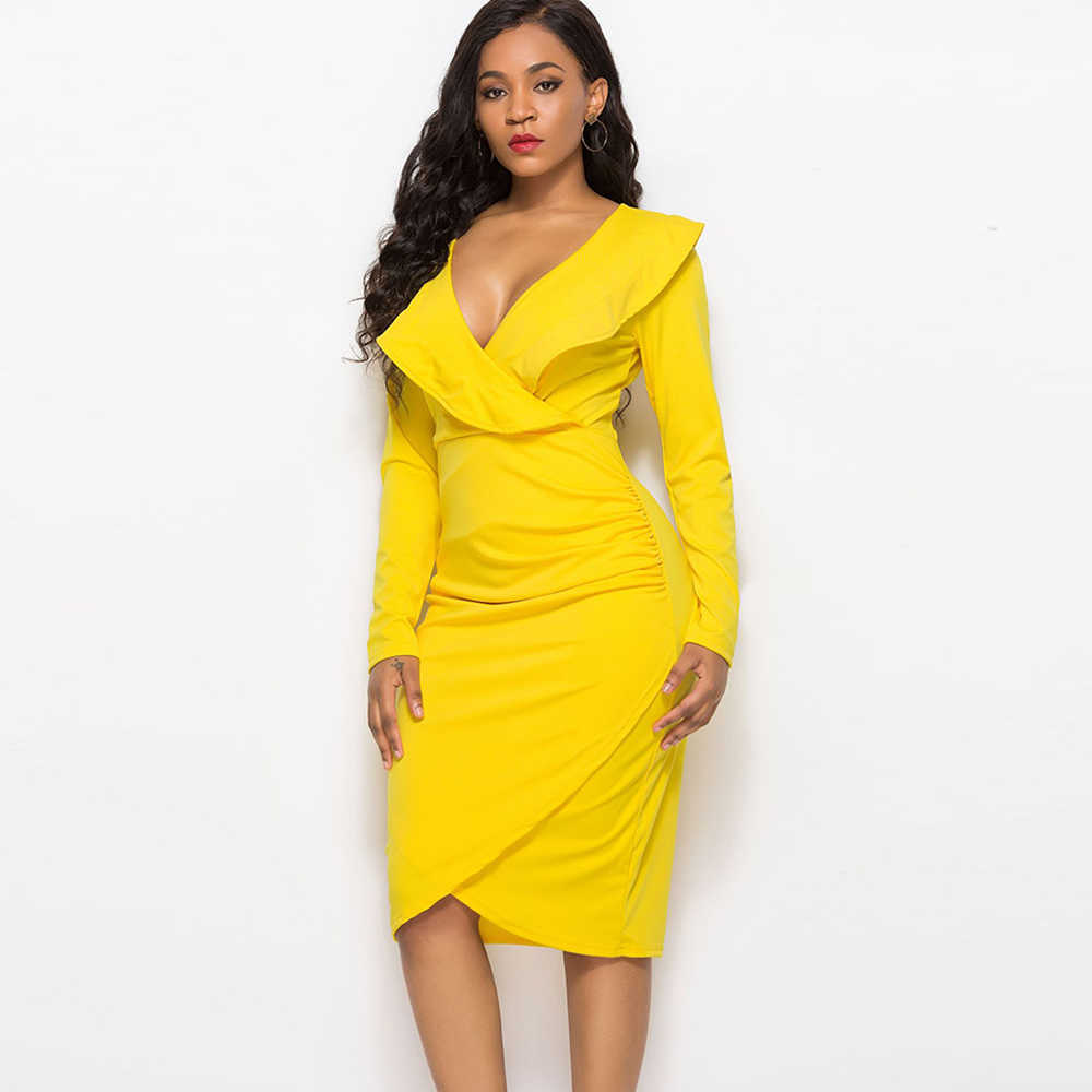 c397a021d97c ... Sexy V Neck Ruffled Wrap Dress Long Sleeve Yellow Midi Vestidos Sheath  Bodycon Autumn Winter Club ...
