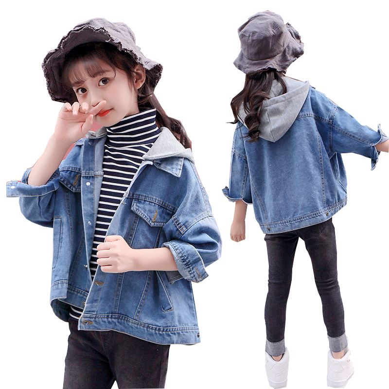 цена на Kids Denim Jackets for Girls 10 Y Autumn Long Sleeve Hooded Fashion Teenager Girls Jeans Coats Outerwear Jacket Children Clothes