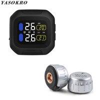 YASOKRO Waterproof Motorcycle Real Time Tire Pressure Monitoring System TPMS Wireless LCD Display Internal & External Sensors