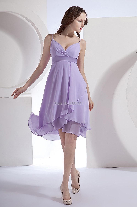 Vestido De Festa Short Lavender Bridesmaid Dresses 2015