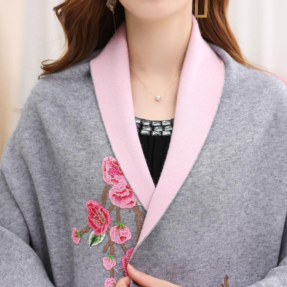 2017 New Women Embroidery Cashmere Sweater Fashion Kimono Cardigan ...