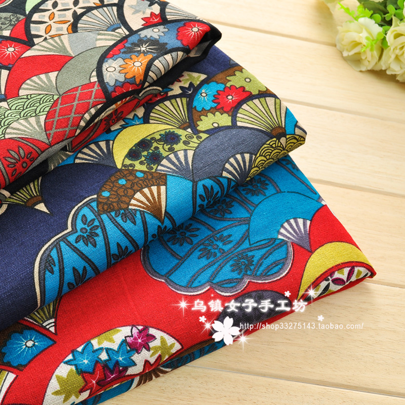 Wide 145cm x50cm 1pcs Ethnic Fabric Cotton/Linen Fan Flower Printed Japanese Fabric Diy Patchwork Home Cloth Sewing Cheongsam