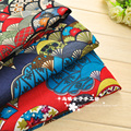 Wide 145cm x50cm 1pcs Ethnic Fabric Cotton/Linen Fan Flower Printed Japanese Fabric Diy Patchwork Home Cloth Sewing Cheongsam
