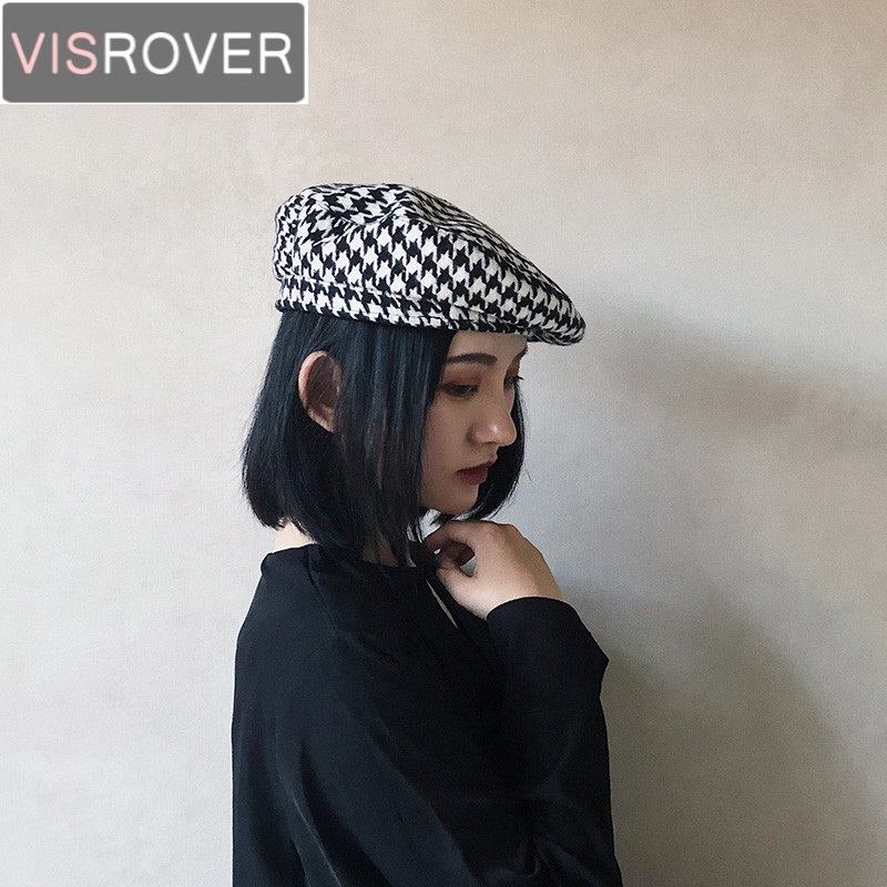 91e624b18 VISROVER New Autumn Winter Houndstooth Wool Beret Hats for Women Cashmere  Berets Girls Warm Cap Casual High Quality Designer Hat