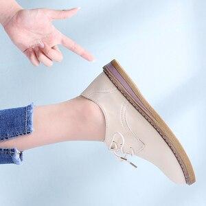 Image 3 - 2019 outono oxford sapatos para as mulheres de couro genuíno rendas até apartamentos dedo do pé redondo chaussure femme mocassins tênis mulher 8516