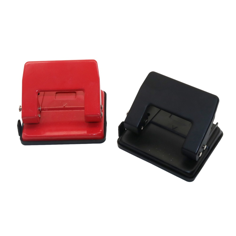 New Product Medium Double Hole Puncher Black&Red Metal ABS Manual Punching Document Binding Tool School Office Stationery