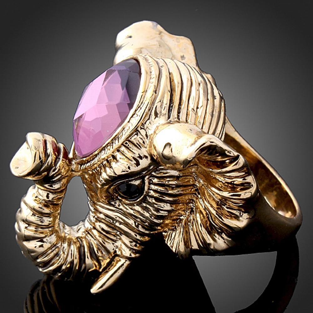 Retro Fashion Antique Gold/Silver color The Mascot Animal Elephant With purple Crystal Rings For Women J00169