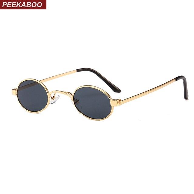 0d615d576cb3a Peekaboo pequeno oval óculos de sol dos homens rodada 2018 armação de metal  ouro unisex preto