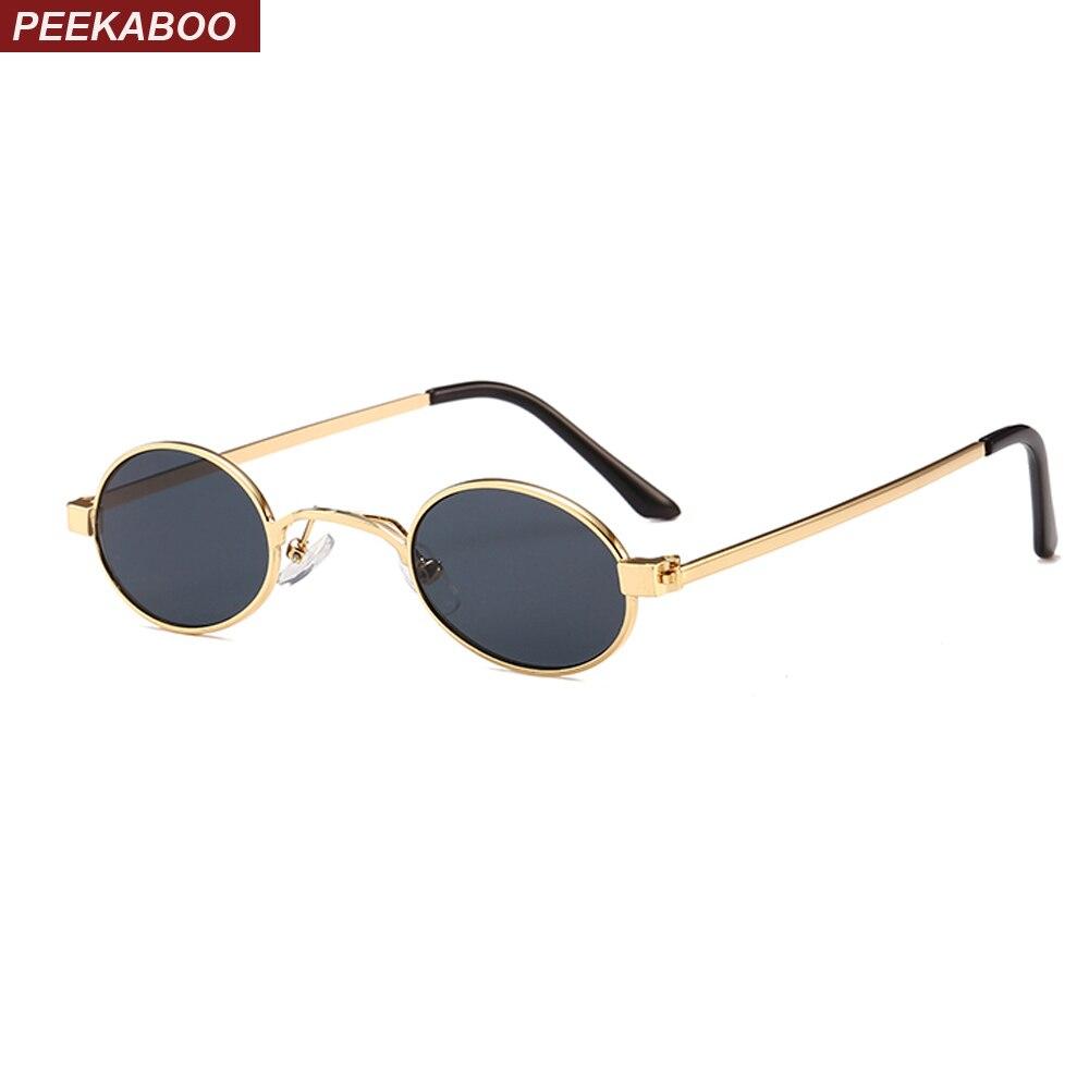 Peekaboo small oval sunglasses men round 2018 metal frame unisex gold black red small sun glasses for women round uv400