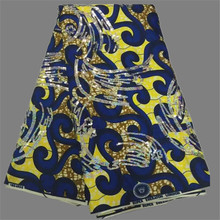 Elegant royal blue with yellow print cotton wax ankara African party wax  batik material with sequins f7ade405face