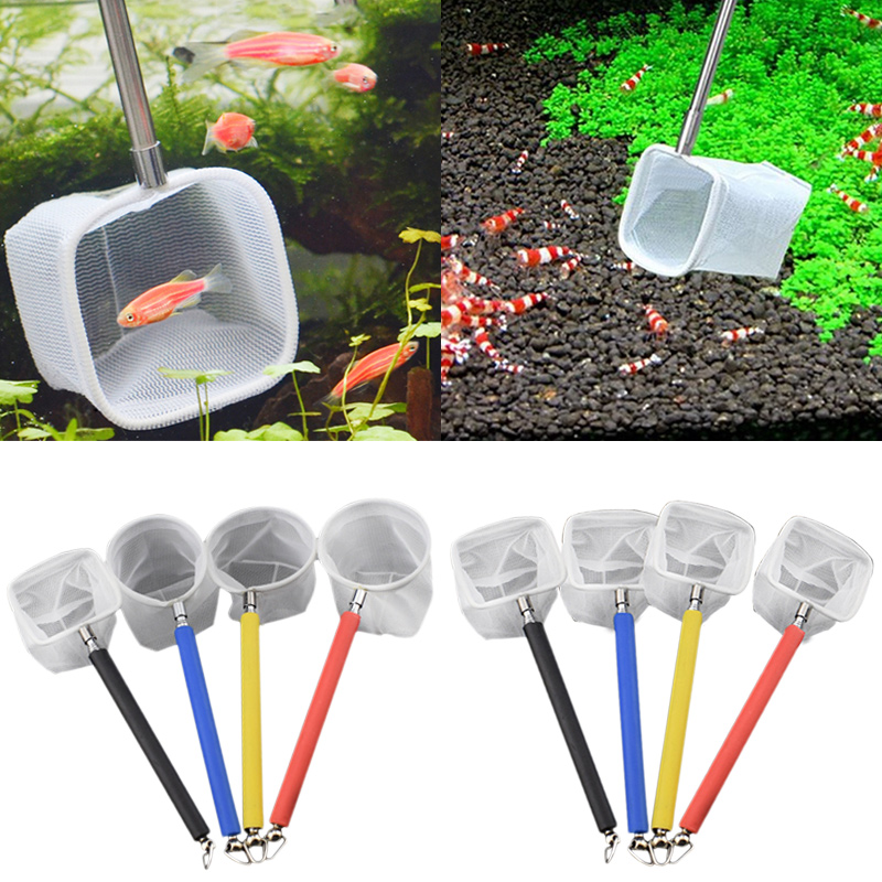 3D Mini  Stainless Steel  Adjustable Fish Tank Catch Net Shrimp Scoop Fish Scoop Round Square Pocket Shrimp Catching Nets