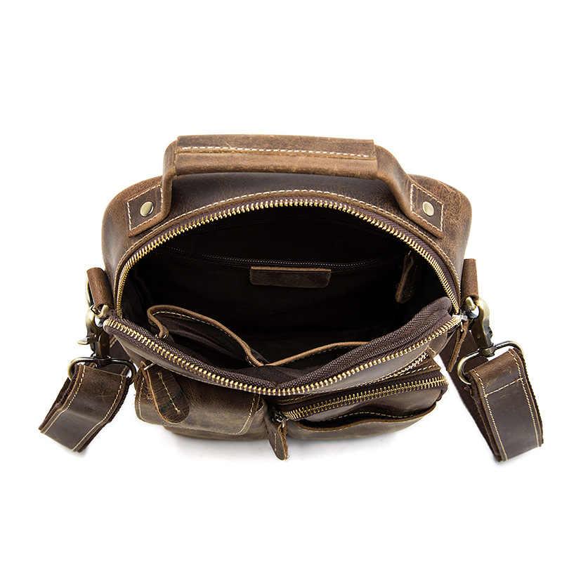 BJYL el nuevo bolso de mensajero para hombre retro crazy horse bolso de hombro Paquete de cuero genuino europeo y americano