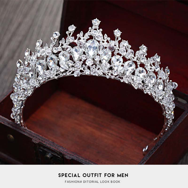 Bride Wedding Luxury Crystal Tiaras For Women Flower Elegant Brial Crystal Crowns king Wedding Hair Accessories Fashion jewelry