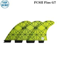 FCS II Tri fin set Fiberglass Surf FCS2 Fins G7 Light Yellow upsurf new design