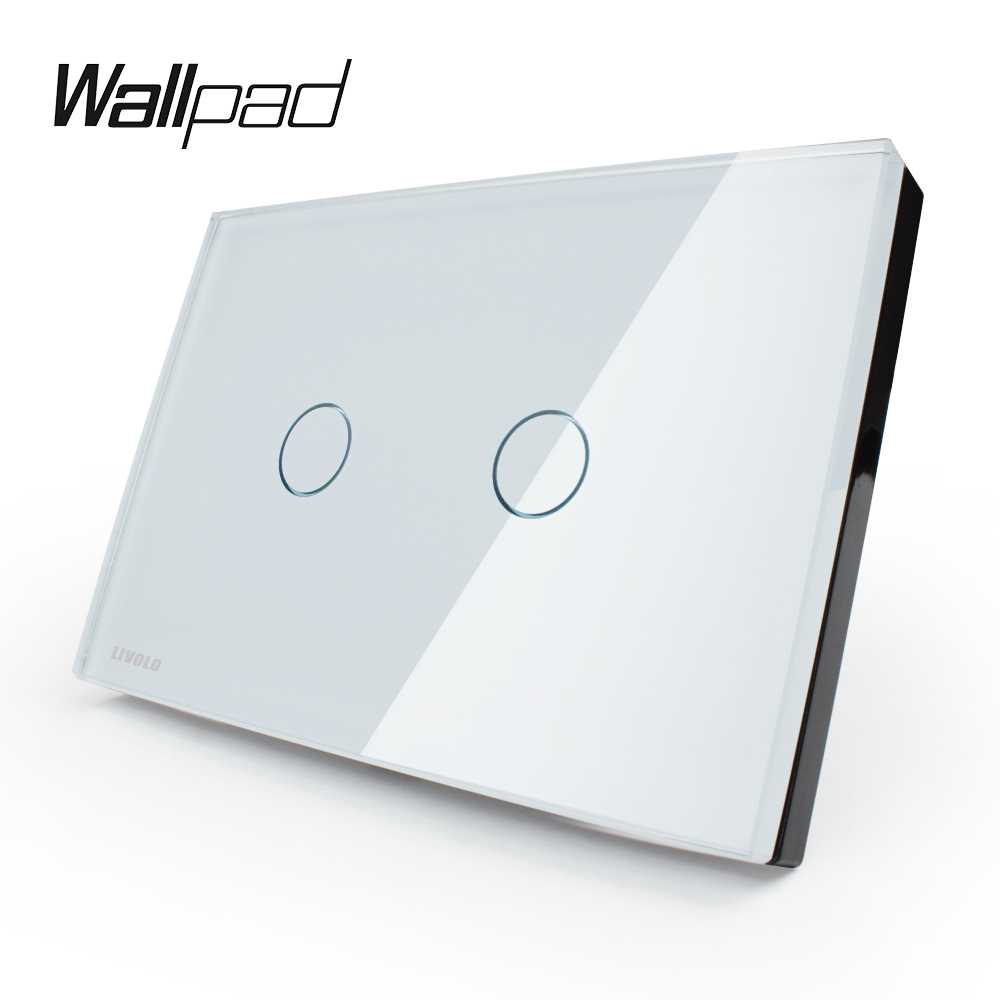Wall Switch, 2-gang 2-way, White Glass Panel, US/AU standard Touch Screen Light Switch VL-C302S-81 with LED indicator 3 gang 2 way us au standard smart touch switch crystal glass panel wall light controler