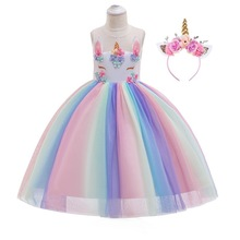 Girls Unicorn Rainbow Pony Costumes Princess Girl Tutu Tulle Dresses With Headband Set for Kids Birthday Theme Party Cos