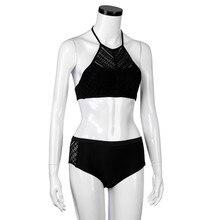 2018 Newest Summer Womens Sexy  Beach Bra Bikini Set Swimwear  Halter Top Criss Cross Bandage Halter Swimsuits of large sizes