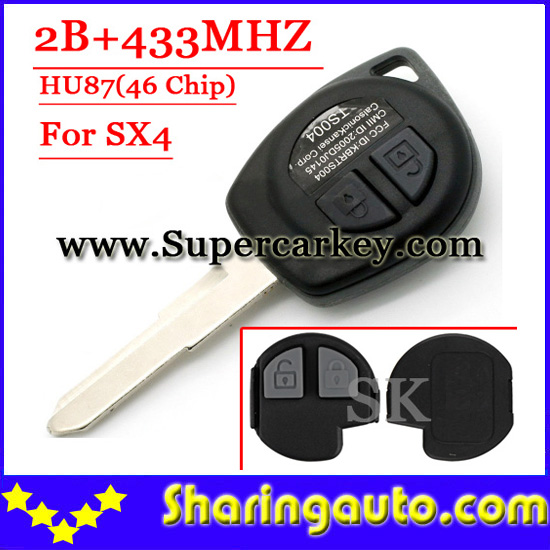 Free shipping  2 Button Remote Key HU87 Blade With ID46 Chip 433MHZ For Suzuki Sx4(TY)(1piece) free shipping 2 button remote key hu87 blade with id46 chip 433mhz for suzuki swift yy 1piece